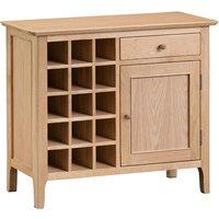 Nassau Wooden 1 Door And 1 Drawer Wine Cabinet In Natural Oak