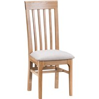 Nassau Wooden Dining Chair In Natural Oak With Fabric Seat