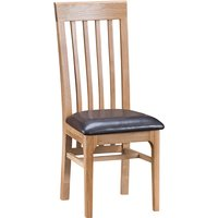 Nassau Wooden Dining Chair In Natural Oak With Leather Seat