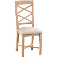 Nassau Wooden Double Cross Back Dining Chair In Natural Oak