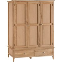 Nassau Large Wooden 3 Doors Wardrobe In Natural Oak