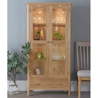 Product photograph showing Nassau Led Wooden Display Cabinet In Natural Oak