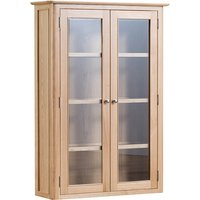 Product photograph showing Nassau Led Wooden Wall Hung Display Cabinet In Natural Oak