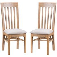 Nassau Natural Oak Dining Chair With Fabric Seat In Pair
