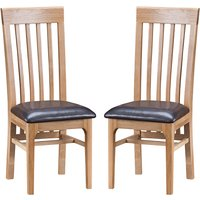 Nassau Natural Oak Dining Chair With Leather Seat In Pair