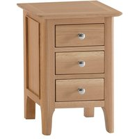 Nassau Small Wooden 3 Drawers Bedside Cabinet In Natural Oak