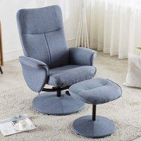 Product photograph showing Natalia Fabric Recliner Lounge Chair In Blue With Footstool