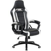 image-Neasa Black PU Gaming Office Chair With Grey And White Finish