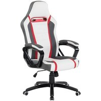 image-Neasa White PU Gaming Office Chair With Grey And Red Finish
