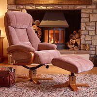 Product photograph showing Neasden Fabric Swivel Recliner Chair And Footstool In Fawn