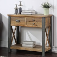 Product photograph showing Nebura Small Wooden Console Table In Reclaimed Wood