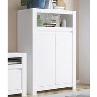 Product photograph showing Neka Wooden 2 Doors Storage Cabinet In Alpine White