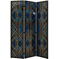 Product photograph showing Nelida Wooden Folding Patterned Blue And Gold Room Divider