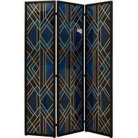 Kitalpha Wooden Folding Patterned Blue And Gold Room Divider