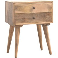 Neligh Wooden Bedside Cabinet In Natural Oak Ish With 2 Drawers