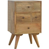 Neligh Wooden Bedside Cabinet In Natural Oak Ish With 4 Drawers