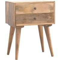 Neligh Wooden Bedside Cabinet In Oak Ish With 2 Drawers