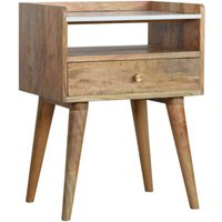 Neligh Wooden Bedside Cabinet In Oak Ish With White Marble Top