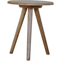 Product photograph showing Neligh Wooden Round Tripod Stool In Natural Oak Ish