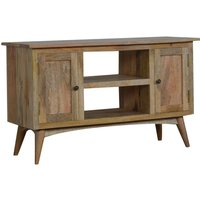 Product photograph showing Neligh Wooden Tv Stand In Natural Oak Ish With 2 Doors
