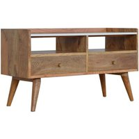 Product photograph showing Neligh Wooden Tv Stand In Oak Ish With White Marble Top