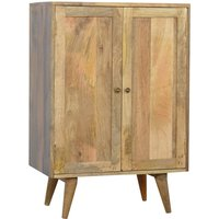 Product photograph showing Neligh Wooden Wine Cabinet In Natural Oak Ish With 2 Doors