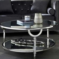 Product photograph showing Nenque Mirrored Coffee Table With Nickel Frame