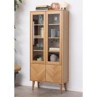 Product photograph showing Nephi Wooden 4 Doors Display Cabinet In Herringbone Oak