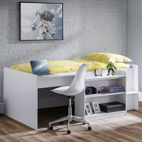 Product photograph showing Neptune Midsleeper Bunk Bed With Computer Desk In White