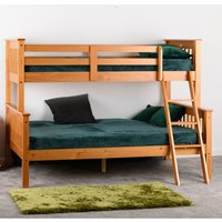 Product photograph showing Neptune Wooden Triple Sleeper Bunk Bed In Antique Pine