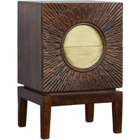 Nero Wooden Bedside Cabinet In Chestnut And Brass