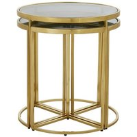 Product photograph showing Kochab Black Glass Set Of 5 Nesting Tables With Gold Finish Fram