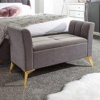 Nettiep Velvet Upholstered Ottoman Storage Bench In Grey