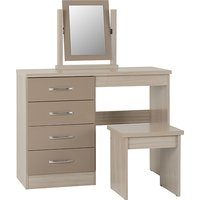 Product photograph showing Nunky Dressing Table Set In Oyster High Gloss With 4 Drawers