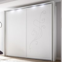 Product photograph showing Nevea Led Sliding Wooden Door Wardrobe In Serigraphed White
