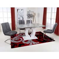 Product photograph showing Neville Gloss Medium Dining Table 4 Triton Dark Grey Chairs