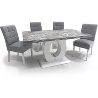 Product photograph showing Neville Gloss Medium Dining Table With 4 Silver Grey Chairs