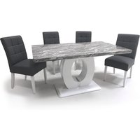 Product photograph showing Neville Gloss Medium Dining Table With 4 Steel Grey Chairs