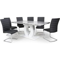 Neville Large Gloss Dining Table With 6 Callisto Black Chairs