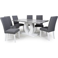 Neville Large Gloss Dining Table With 6 Linen Steel Grey Chairs