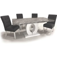 Neville Large Gloss Dining Table With 6 Steel Grey Chairs