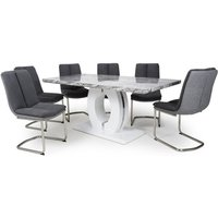 Product photograph showing Neville Large Gloss Dining Table With 6 Triton Dark Grey Chairs