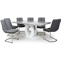 Neville Large Gloss Dining Table With 6 Triton Light Grey Chairs