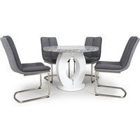 Neville Round Marble Effect Dining Table With 4 Dark Grey Chairs