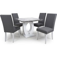 Product photograph showing Neville Square Marble Effect Dining Table With Steel Grey Chairs
