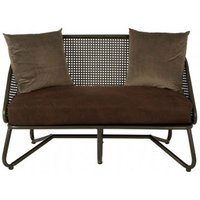 Product photograph showing New Voundry 2 Seater Metal Sofa In Brown With Curved Legs