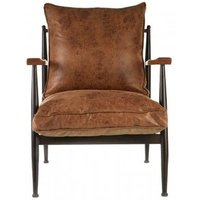 Product photograph showing New Voundry Metal Armchair In Brown