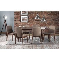 Newbury Wooden Extending Dining Table In Walnut With 6 Chair