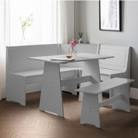 Newport Corner Wooden Dining Set In Dove Grey With Storage Bench