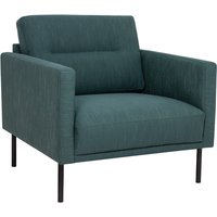 Product photograph showing Nexa Fabric Armchair In Dark Green With Black Legs